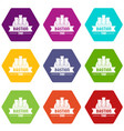 kingdom bastion icons set 9 vector image vector image