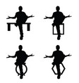 man silhouette sitting set in black color vector image