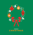 merry christmas card festive holiday wreath vector image