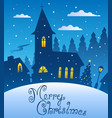 merry christmas evening scene 1 vector image