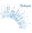 Outline budapest hungary city skyline with blue