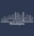Outline philadelphia pennsylvania city skyline