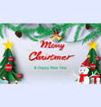 paper art of merry christmas backgroundchristmas vector image