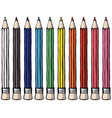 realistic 3d wooden colored pencils isolated on vector image vector image
