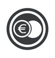 Round black euro coin sign vector image