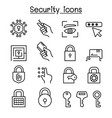 security icon set in thin line style vector image