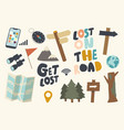 set icons get lost in forest or road theme vector image