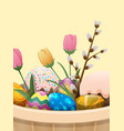 set of easter cake color eggs flowers and willow vector image vector image