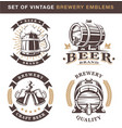 set of vintage brewery emblems on white background vector image