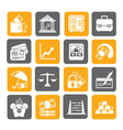 Silhouette Business and bank icons vector image