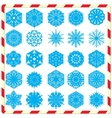 Snowflake silhouettes set vector image