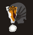 sos warning violence against children vector image vector image