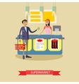Supermarket poster in flat style Customers vector image vector image