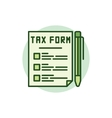 Tax form green icon vector image vector image