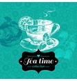 Tea vintage background Hand drawn sketch vector image