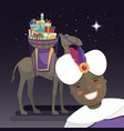 three kings selfie with king balthazar camel and vector image vector image