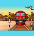 train on the track to the western town vector image vector image