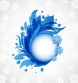 Winter floral blue transparent frame vector image vector image