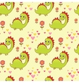 Seamless pattern with dinosaurs in cartoon vector image
