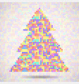 abstract colorful christmas tree of pixels vector image