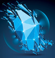 Abstract low poly wrecked object with white dotted vector image vector image