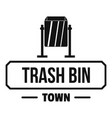 bin trash town logo simple black style vector image vector image