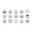 black and white smile set emoji faces trendy pack vector image