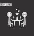 black and white style icon gay romantic dinner vector image vector image