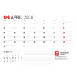 calendar template for april 2017 business planner vector image vector image