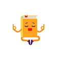 cartoon book character meditating vector image vector image