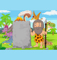 cartoon caveman holding stone sign in forest vector image vector image