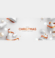 christmas banner 3d white and gold decoration vector image vector image