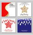 christmas cards with decorative star and baubles vector image