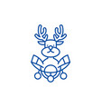 christmas deer decoration line icon concept vector image vector image