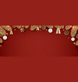 christmas frame with fir tree and golden vector image vector image