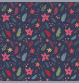Christmas seamless floral pattern hand drawn