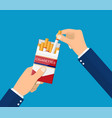 cigarettes in hand man vector image vector image