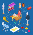 clothing design atelier and sewing isometric