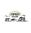 cows graze on a field in village farm vector image