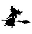 cute halloween witch silhouette vector image vector image