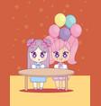 cute kawaii girls with balloons helium character vector image