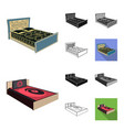 different beds cartoonblackflatmonochrome vector image vector image
