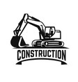 excavator construction site logo on white vector image