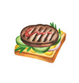 fast food meal watercolor on white background vector image vector image