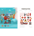 flat firefighting colorful concept vector image vector image