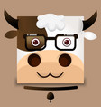 flat image of an ox face on gray background vector image vector image