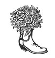 flowers in boot cowboy with flowers printable vector image vector image