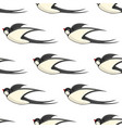 flying swallows seamless pattern on white vector image