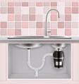 food waste disposer under kitchen sink vector image vector image