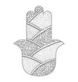 hamsa hand drawn symbol black and white vector image